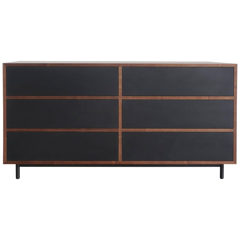 Driver Chest of Drawers in Waxed Paper Composite and Oiled Walnut For Sale