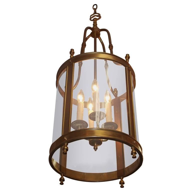 English Brass Circular Glass Hall Lantern Circa
