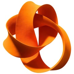 Orange Wall Mounted Ceramic Sculpture by Merete Rasmussen