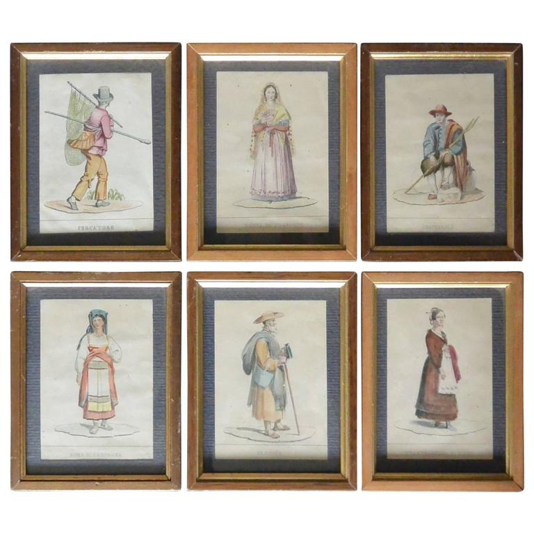 Set of Six Italian Hand Colored Engravings