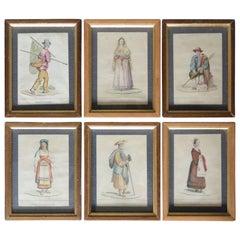 Set of Six Italian Hand Colored Engravings