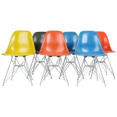 Set of Six Eames Side Shells, in Happy Colors