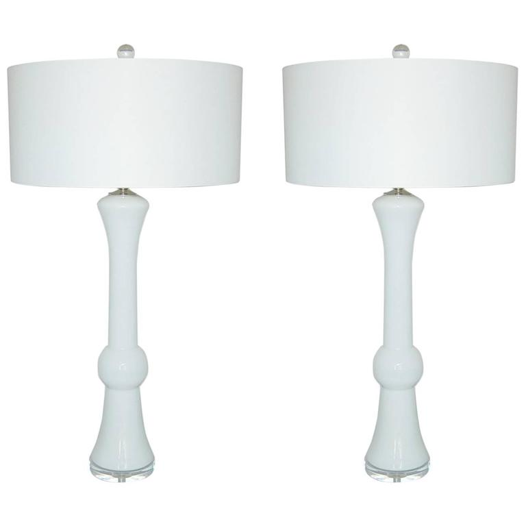 White Murano Vintage Italian Table Lamps For Sale At 1stdibs