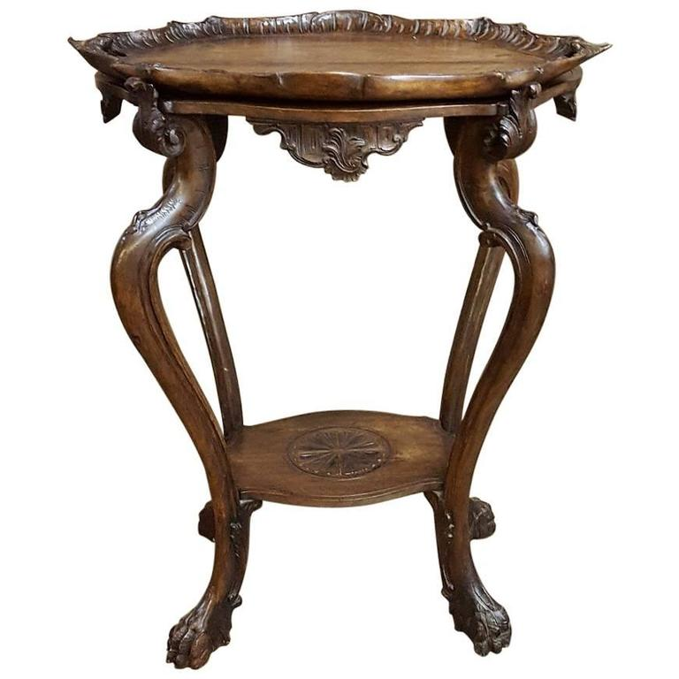 Antique Hand-Carved Italian Walnut Baroque Tea Serving Table with Serving Tray