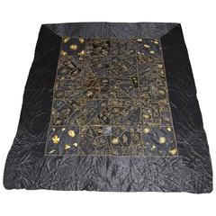 New England Silk Quilt with Gold Embroidery in Excellent Condition, 1901, Boston