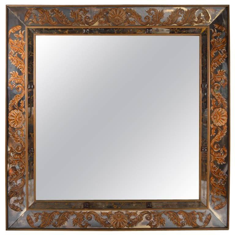 Large scale square jeweled eglomise mirror for sale at 1stdibs for Big square wall mirror