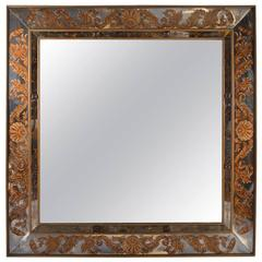 Large Scale Square Jeweled Eglomise Mirror