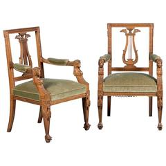 Pair of Carved Antique 19th Century French Neoclassical Armchairs