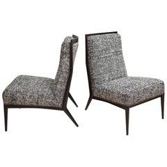 1950's Ebonized Walnut Paul McCobb Slipper Chairs in Black & White Silk Tweed