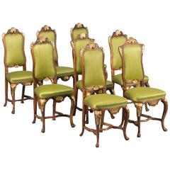 Set of Eight Carved Antique 19th Century Norwegian Dining Chairs