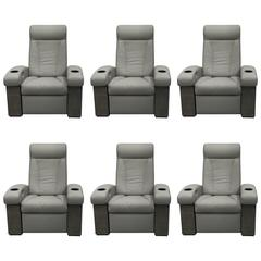 Set of Six Cineak Leather Media Chairs