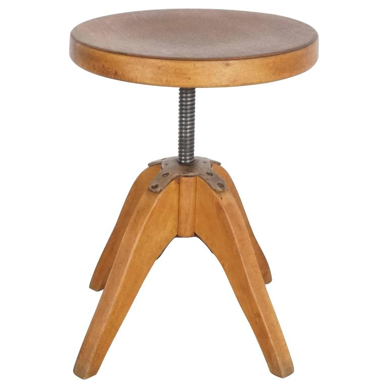 Industrial Wood Stool For Sale