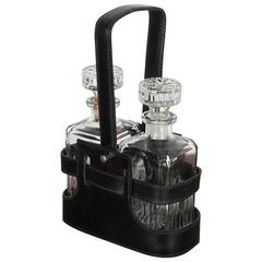 Adnet Style Leather Holder with Decanters