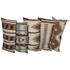 Collection of Five Geometric Navajo Saddle Blanket Weaving Pillows