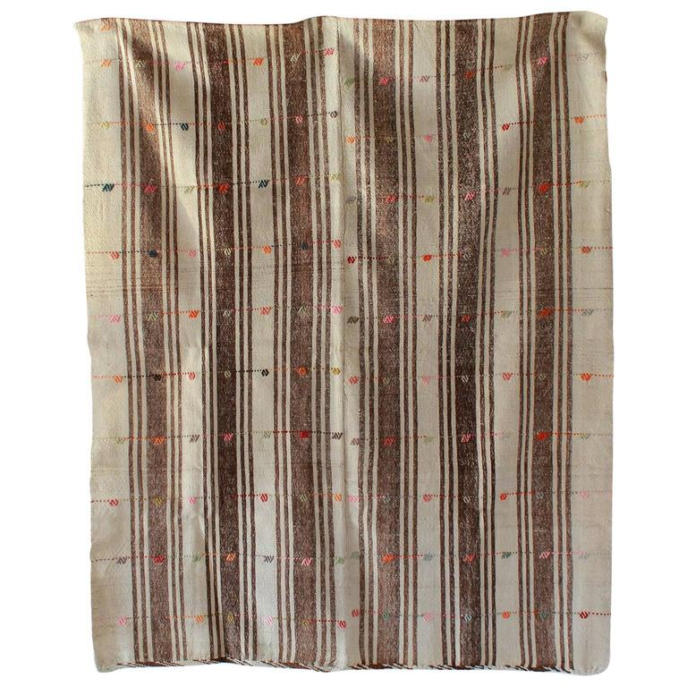 Turkish Brown and Natural Striped Rug with Pink and Orange Details For Sale