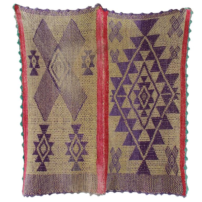 Peruvian Handwoven Textile with Violet Geometric Details For Sale