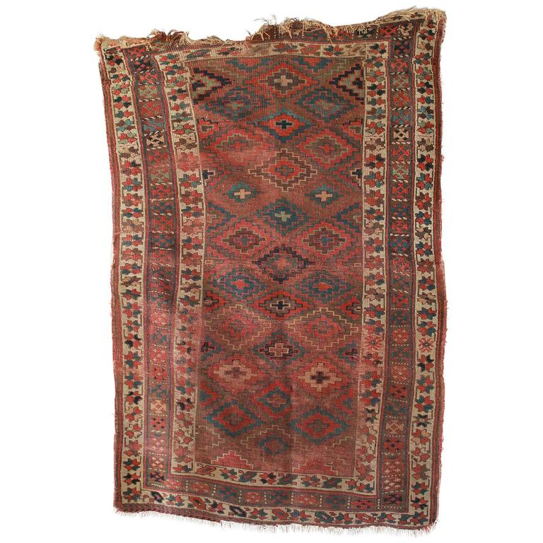 Dark Rust And Green Kilim Rug At 1stdibs