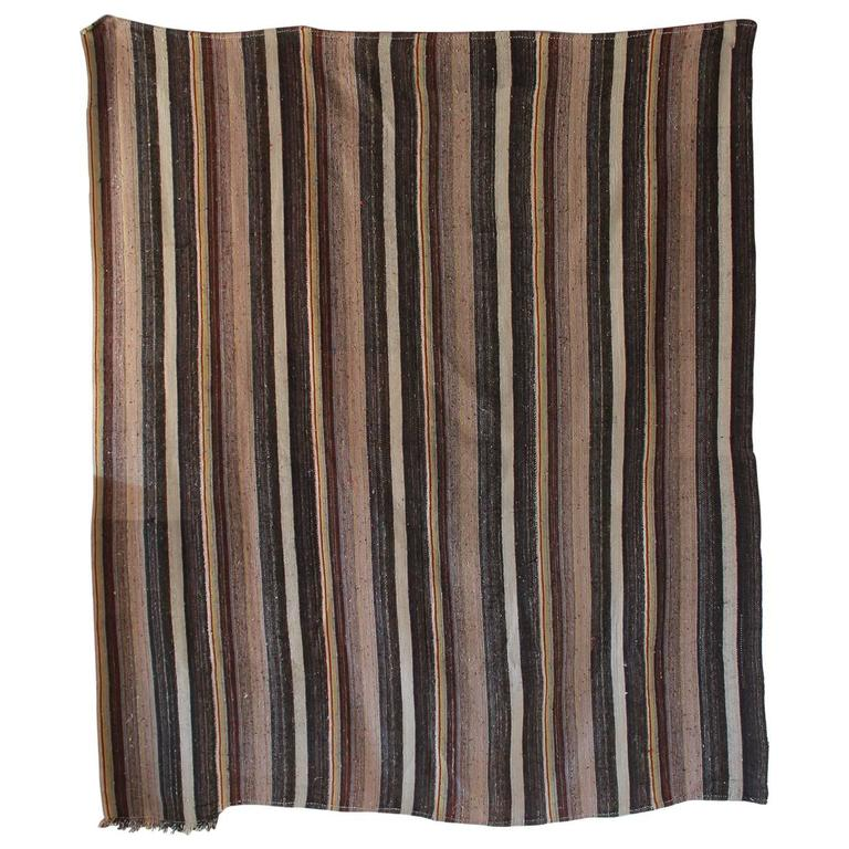Rustic Flat-Woven Wool Striped Rug 1