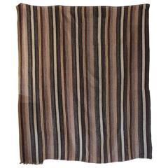 Rustic Flat-Woven Wool Striped Rug