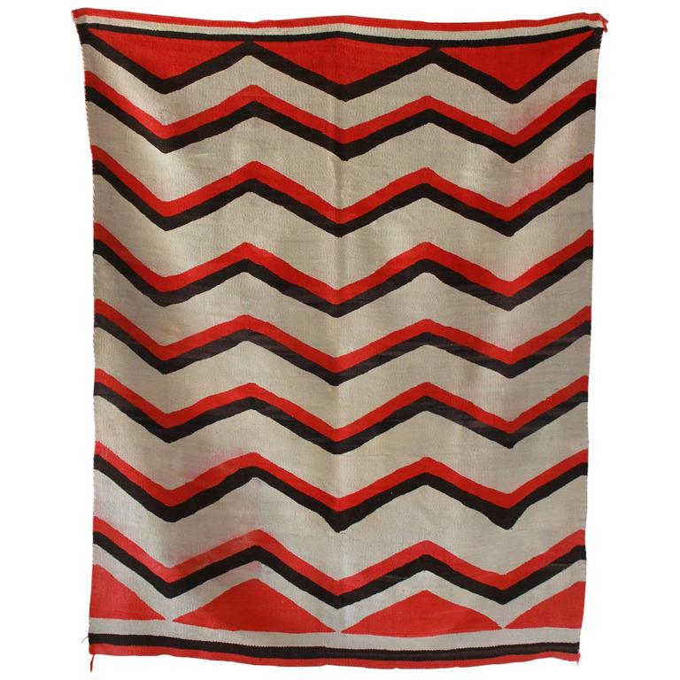 Wool Chevron Pattern Red and Brown Vintage Textile 1