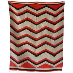 Wool Chevron Pattern Red and Brown Vintage Textile