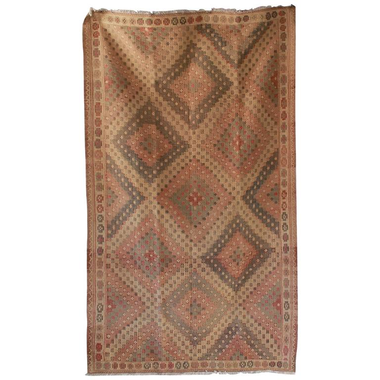 Turkish Jajim Diamond Rug with Sage and Orange Details 1