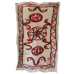 Cote Pierre French Felt Rug with Red and Black Abstract