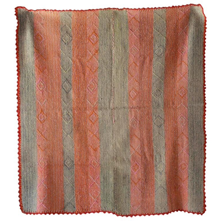 Peruvian Striped Orange Pink and Sage Colored Cuzco Wool Textile 1
