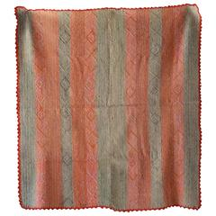 Peruvian Striped Orange Pink and Sage Colored Cuzco Wool Textile