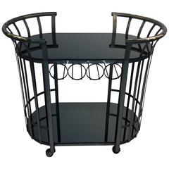 Style of Russell Woodard Flat Band Steel Bar Cart