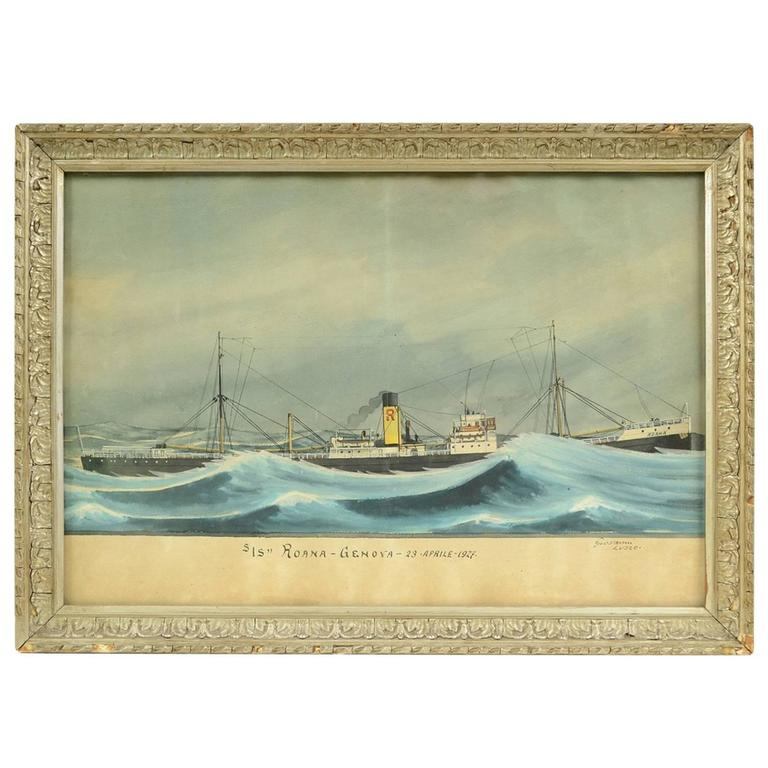Italian Nautical Votive Painting For Sale