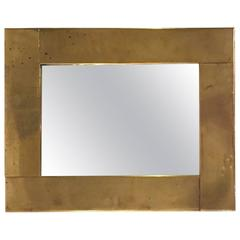 Classic Style Mirror by Gabriella Crespi, Gold-Plated Brass, circa 1970, France