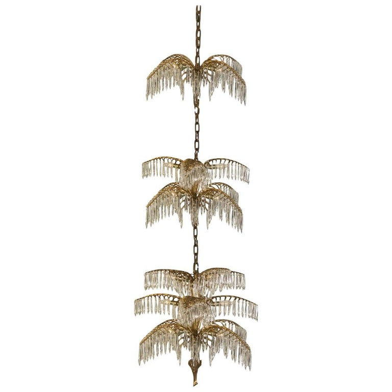 "Josef Hoffmann Jugendstil Crystal Chandelier ""Palme Shanghai"" Re-Edition For Sale"