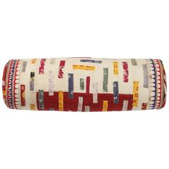 Chaaron Wedding Quilt Bolster Pillow, Red, Ivory, Yellow, Blue, Green