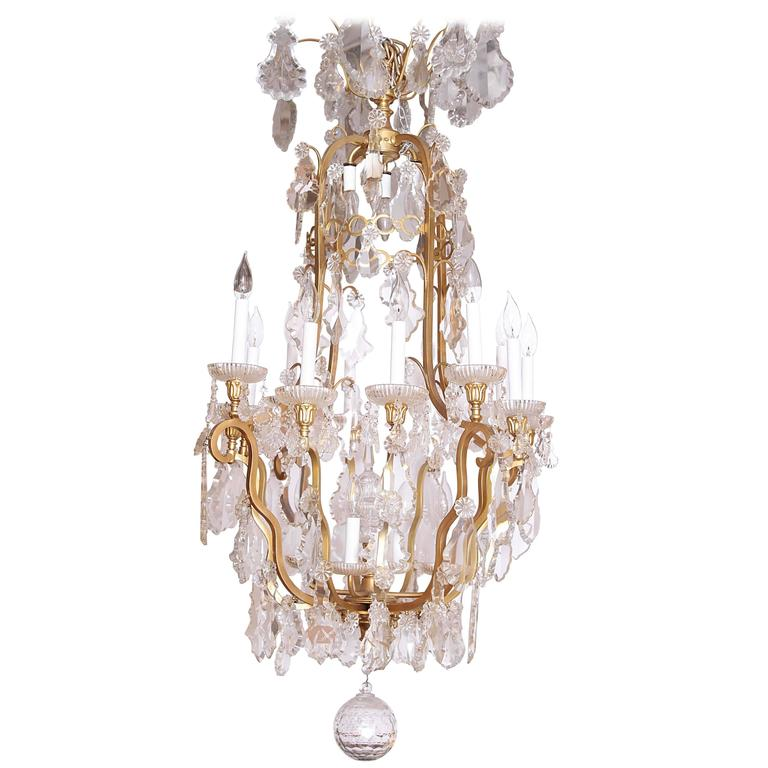 19th Century French Louis XVI Baccarat Cut Crystal Chandelier
