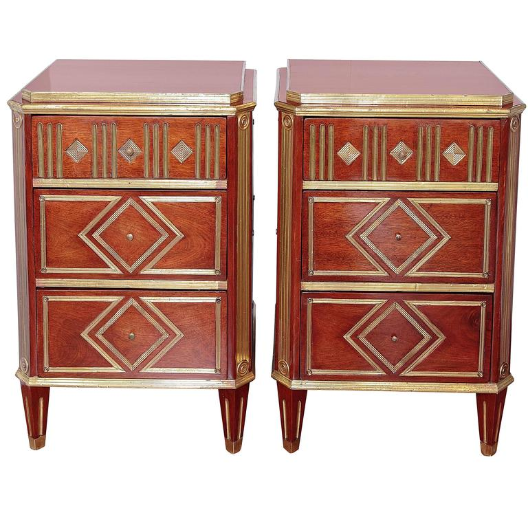 Pair of 19th Century Russian Mahogany Nightstand Commodes