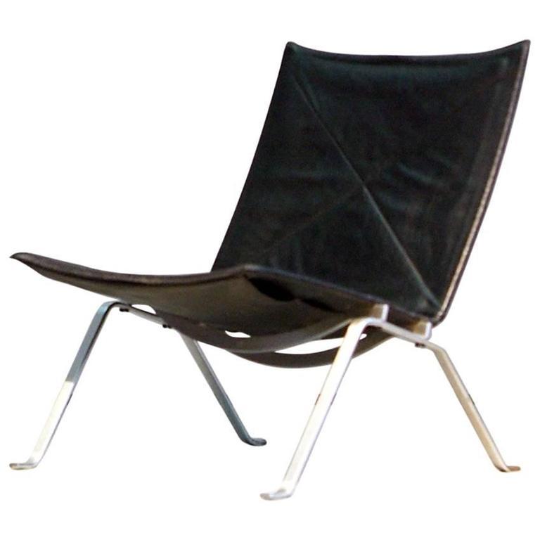 pk22 easy chair e kold christensen 1960s denmark black leather