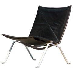 Poul Kjaerholm PK22 Easy Chair E. Kold Christensen, 1960s, Denmark Black Leather
