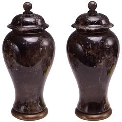 Pair of Fine Carved Dark Rock Crystal Jars