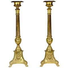 1800s Monumental Brass Pricket Candlesticks, Renaissance Revival-Harkness Estate