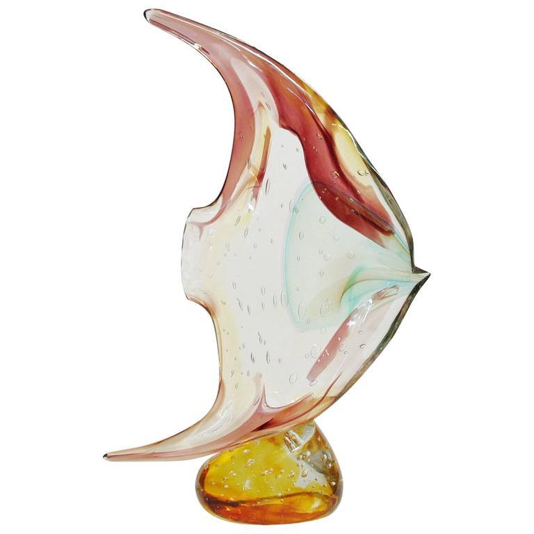 Italian Murano Glass Fish on Pebble Sculpture by Sergio Costantini