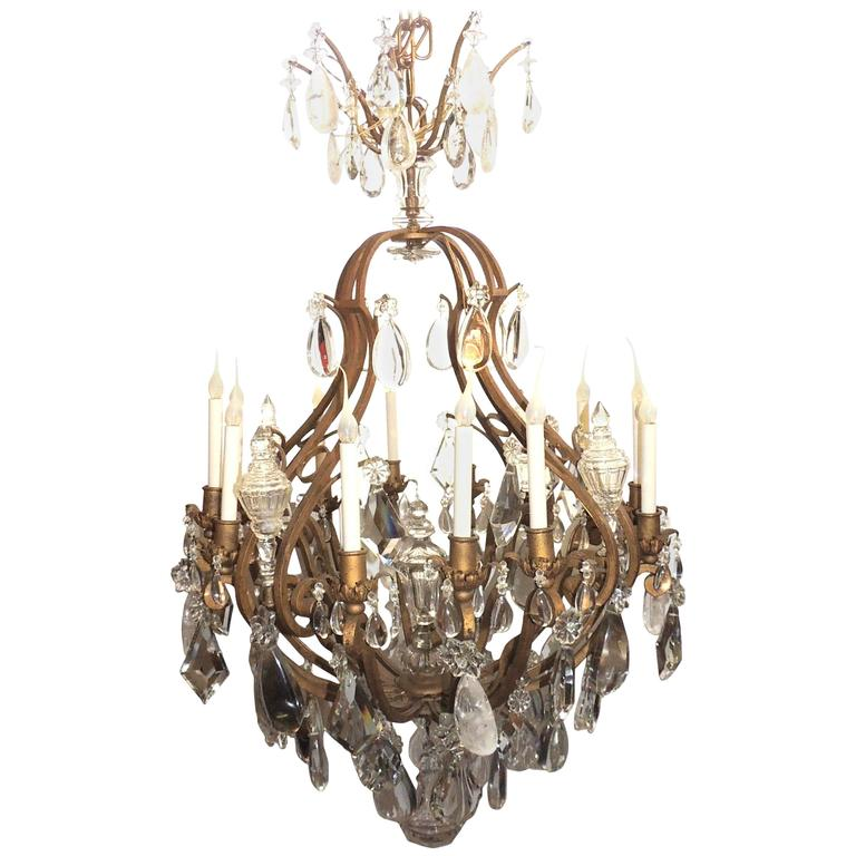 Majestic Gilt French Twelve-Light Rock Crystal Large Chandelier Bagues Fixture