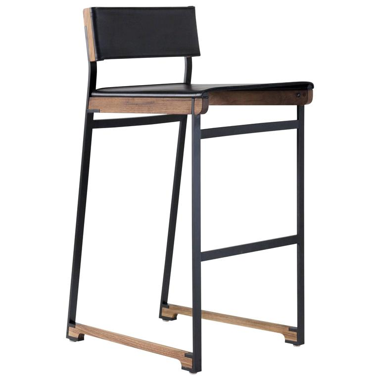 Diego Bar Stool in Leather, American Hardwood and Steel