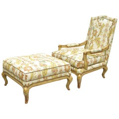 Nancy Corzine Country French Louis XV Style Bergere Lounge Chair and Ottoman