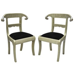 Pair of Rams Head Metal Wrapped Anglo Indian Regency Style Dowry Wedding Chairs