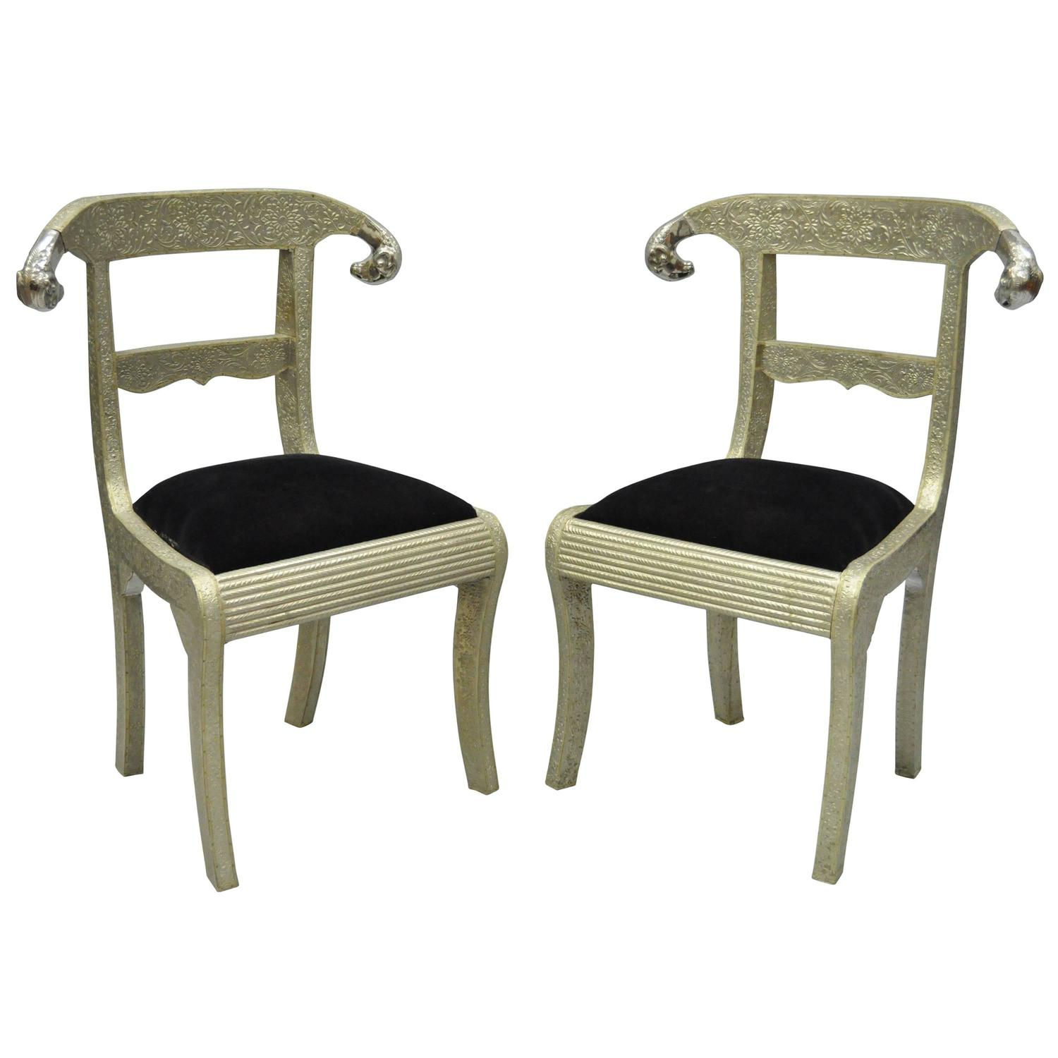 Pair Of Rams Head Metal Wrapped Anglo Indian Regency Style Dowry Wedding  Chairs For Sale At 1stdibs