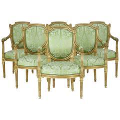 Set of Six 19th Century Gilt Armchairs