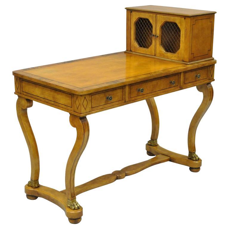 Custom Regency Style Rosewood and Walnut Cartonnier Desk with Bronze Paw Feet