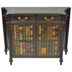 Maitland Smith Tooled Leather Faux Book Commode Demilune Console Table Cabinet