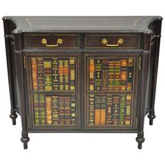 Maitland Smith Tooled Leather Faux Book Commode or Demilune Console Cabinet